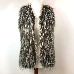 Jackets & Blazers - Faux Feather Vest Striated Brown and White